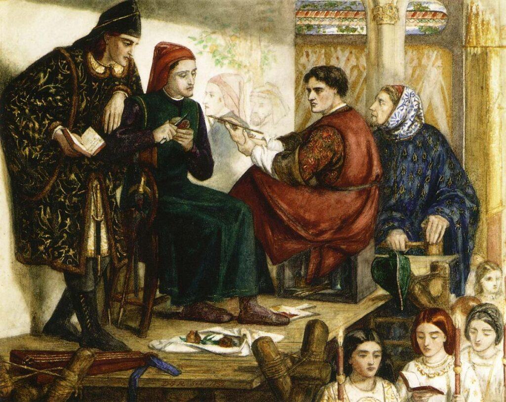 Giotto ritrae Dante opera di Dante Gabriel Rossetti