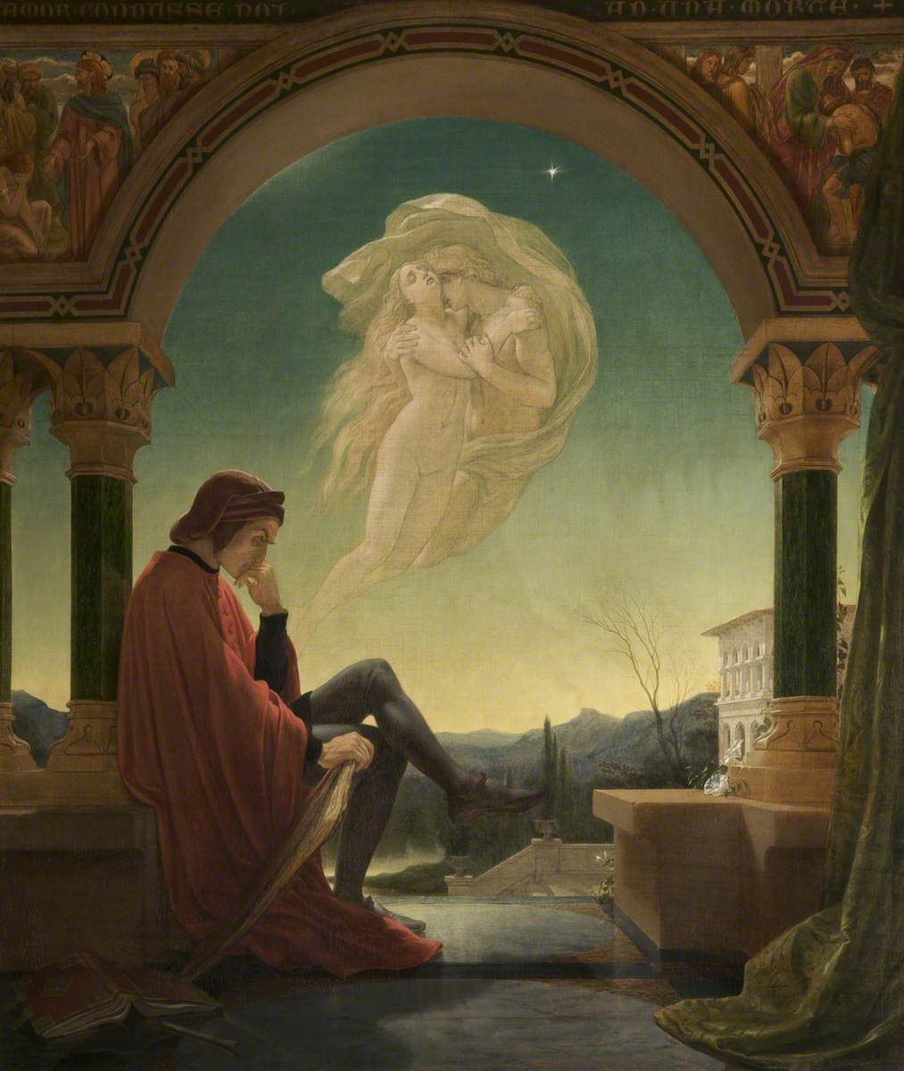 Joseph Noel Paton, Dante medita sull'episodio di Paolo e Francesca, 1852. Manchester, Bury Art Museum