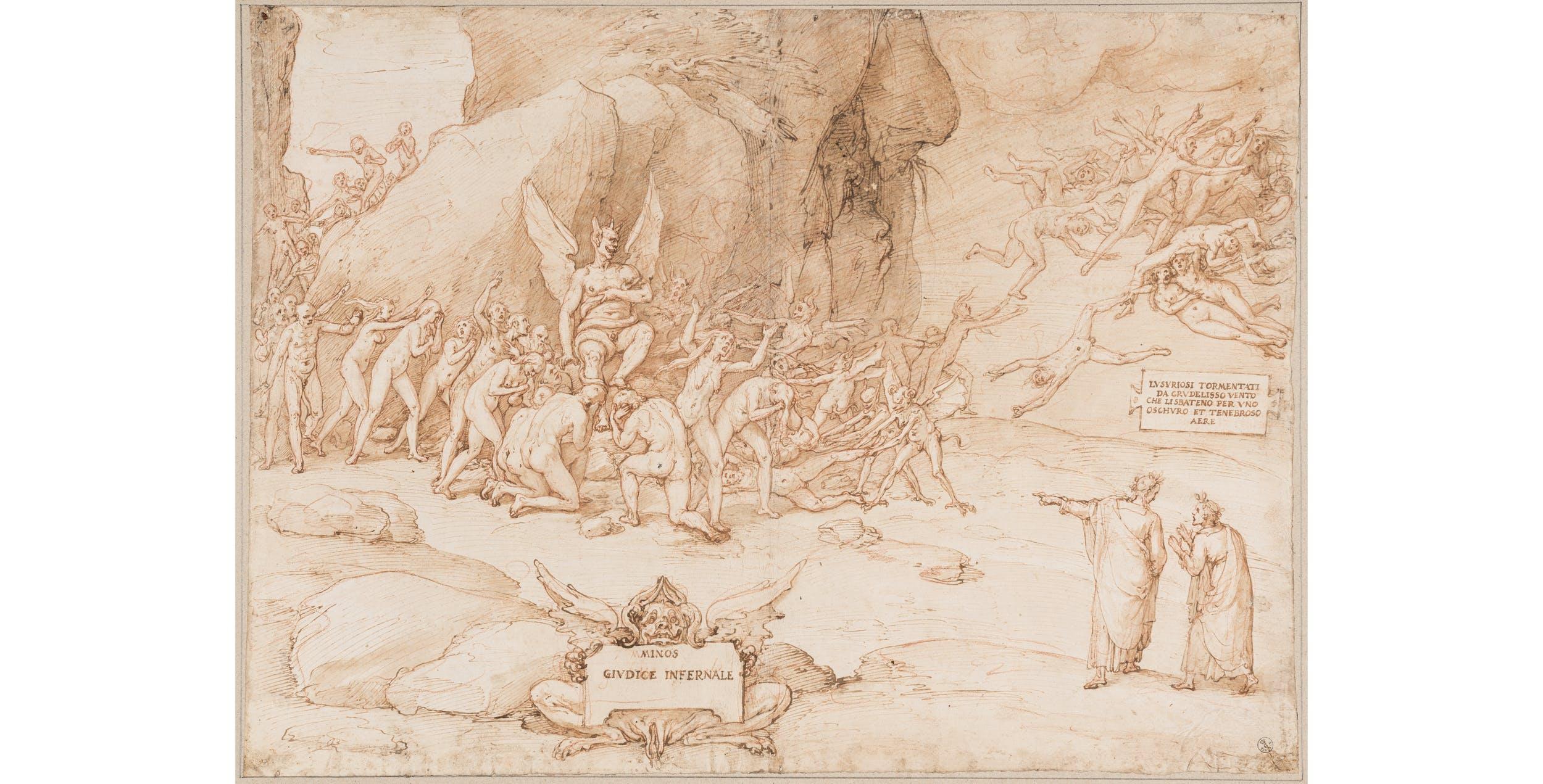 Federico Zuccari Illustrazione al canto V dell'Inferno